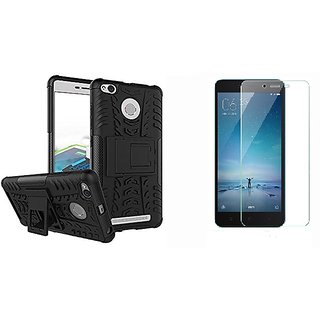 Redmi 3s prime back cover defender with tempered glass