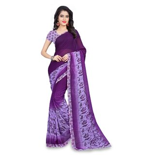 Fabliva Online Trading Purple Georgette Printed Saree With Blouse