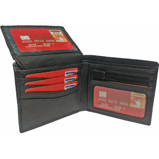 PLC 6 MENS GENUINE BLACK LEATHER WALLET