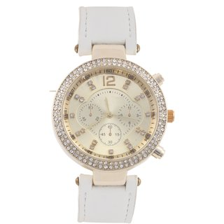 KMS Ring Diamond Women's White Analog Watches