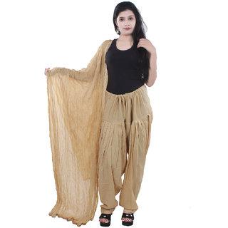 Rajat Fashion Pure Cottan Lite Prown Plain Patyala With Chunni