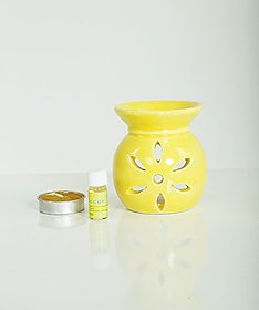 AuraDecor Ceramic Aroma Oil Burner with Tealight  5ml Aroma Oil Gift Pack (Yellow, Red - Pack of 2)