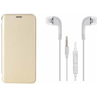 LENOVO K6 NOTE GOLD LEATHER FLIP COVER WITH 3 5mm JACK DYNAMIC EARPHONE