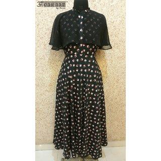 Aavarnam By Renu - Black Flared Maxi Dress - EBVRK00509