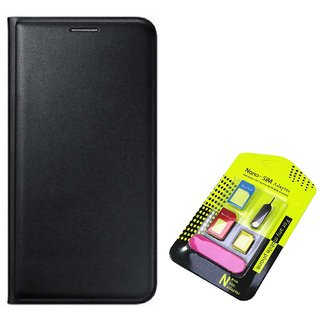 Flip cover For Samsung Galaxy On5 Pro (BLACK) With Nano Sim Adapter