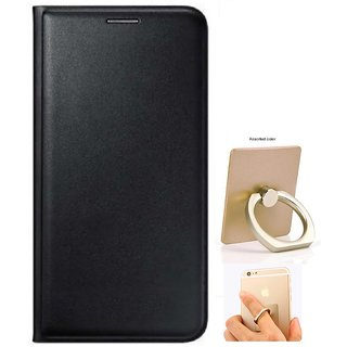 Flip cover For Samsung Galaxy On7 (BLACK) WITH MOBILE RING STAND-Color May Vary
