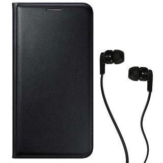 Flip cover For Panasonic Eluga I2 (BLACK) With Champ Earphone(3.5MM JACK)