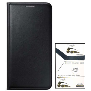 Flip cover For Micromax Canvas Fire 5 Q386 (BLACK) With Ulove Earphone(3.5mm Jack Champ Earphone)