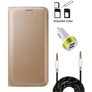 Flip cover For Motorola Moto E3 (GOLD) With Noosy Sim Adapter + 2 Port USB Car Adapter + 3.5 Aux Audio Cable- 1 Meter(colour may vary)