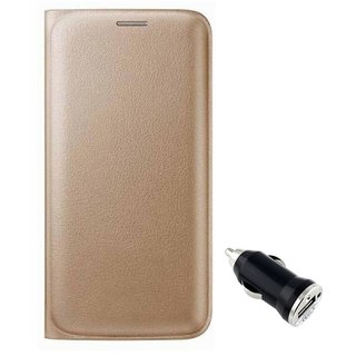 Flip cover For Gionee Pioneer P5L (GOLD)  With CAR ADAPTER-Color May Vary