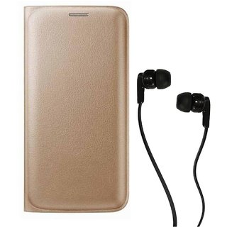 Flip cover For Micromax Canvas 5 Lite Q463 (GOLD) With Champ Earphone(3.5MM JACK)