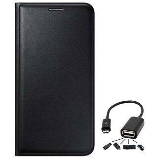 Flip cover For Lava A67 (BLACK) With Micro Otg Cable-Color May Vary