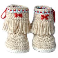 Baby Booties Handmade Crochet Baby Shoes   CREAM RED