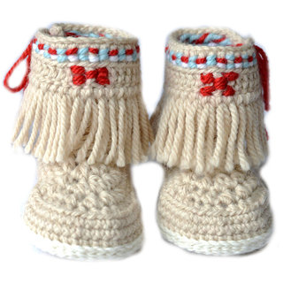 90ea6e7229 Buy Baby Booties Handmade Crochet Baby Shoes CREAM RED Online ...