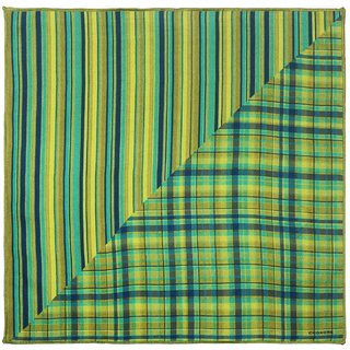 ede925b3d414 Chokore Two-in-One Shades of Green Silk Pocket Square from the Plaids Line