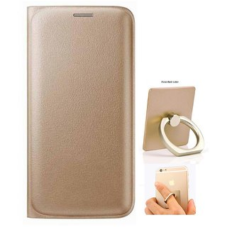 Flip cover For Micromax Canvas 5 Lite Q463 (GOLD) WITH MOBILE RING STAND-Color May Vary
