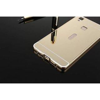 Feomy Aluminum Metal Bumper Detachable + Mirror Hard Back Case for Vivo V3 Max - Gold