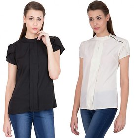 Raabta Black and White shirt with shoulder zip set of two combo