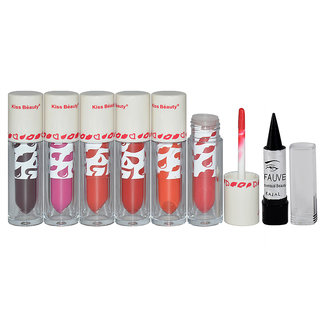 Kiss Beauty Liquid Lipstick Pack of 6 And Free Kajal-THPO-A3