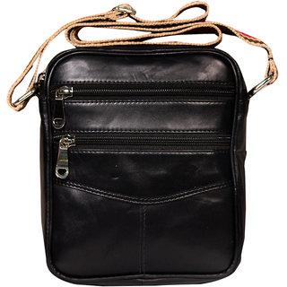 97f7e09afe13 Leather World Black Color Genuine Leather Men sling bag or small Travel Bag