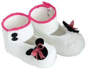 Baby Booties Handmade Crochet Baby Shoes  WHITE BLACK PINK