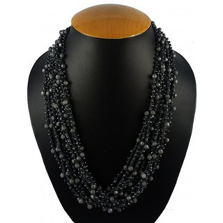 Aradhya Designer Crosia Design Black and Grey Necklace with Beads for Girls and Women