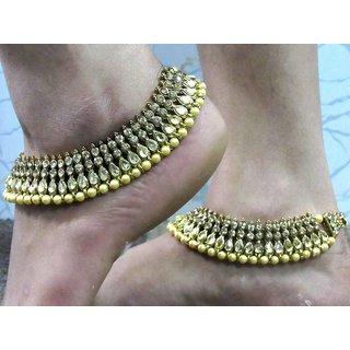 Golden Pearl Kundan Anklet