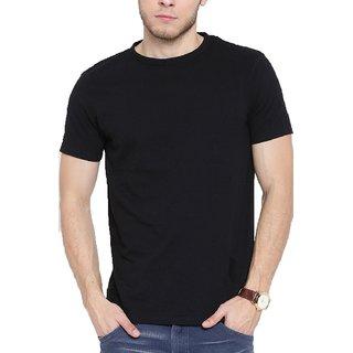 Half Sleeves Slim Fit Round Neck Black Cotton T-Shirt for Men