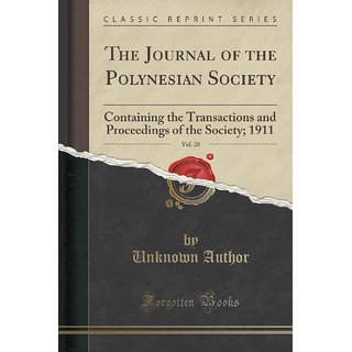 The Journal Of The Polynesian Society, Vol. 20