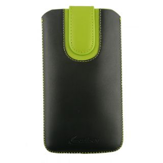 Emartbuy Black / Green Plain Premium PU Leather Slide in Pouch Case Cover Sleeve Holder ( Size LM4 ) With Pull Tab Mechanism Suitable For Creev Mark V Plus 4G LTE Smartphone 5.5 Inch