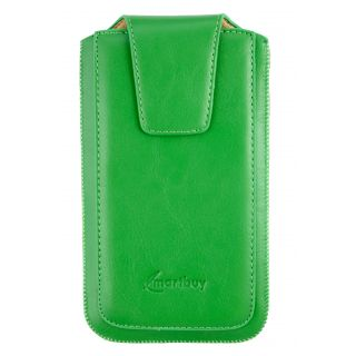 Emartbuy Sleek Range Green Luxury Premium PU Leather Slide in Pouch Case Cover Sleeve Holder ( Size LM2 ) With Magnetic Flap & Pull Tab Mechanism Suitable For Primux Volt Smartphone