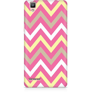 CopyCatz Yellow And Pink Broad Chevron Premium Printed Case For Oppo F1 Plus