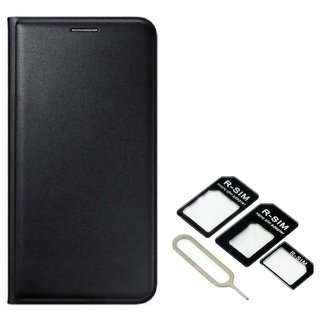 Flip cover For Micromax Canvas Fire 5 Q386 (BLACK) With Nossy Nano Sim Adapter