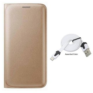 Flip cover For Vivo Y55 (GOLD) With micro flat usb cable-Color May Vary