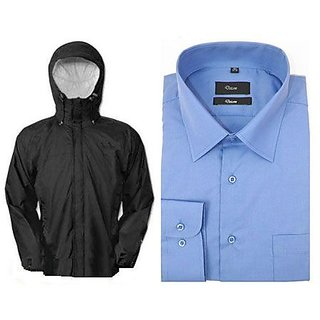 Reversible Rain Jacket With Formal Blue Shirt