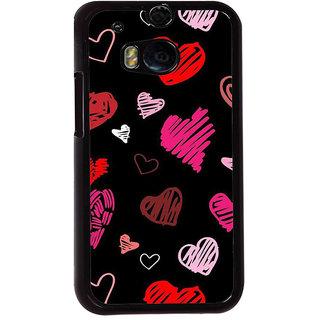 Fuson Designer Back Cover For HTC One M8 (Love Hearts Colourful Hearts Bubbles Beautiful Hearts Black)