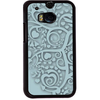 Fuson Designer Back Cover For HTC One M8 (Grey Love Hearts Grey Heart Cute Heart Leaflet)