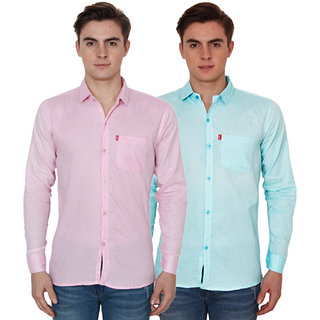 Re Exotic Pink & Sky Casual Slimfit Poly-Cotton Shirt