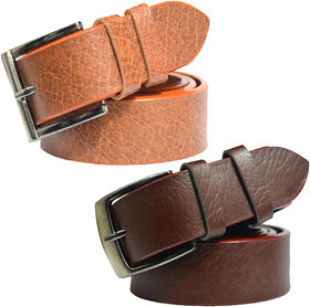 Sunshopping Leatherite Brown Needle Pin-Hole Buckle Formal Belt Pack Of Two Combo (Free Size 28 To 40)