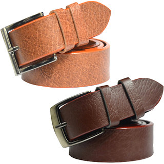 Sunshopping Leatherite Brown Needle Pin-Hole Buckle Formal Belt Pack Of Two Combo (Free Size 28 To 40) (Synthetic leather/Rexine)