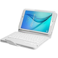 NEWSTYLE Samsung Galaxy Tab E 8.0 Keyboard Case - Folio PU Leather Stand Case Cover with Detachable Wireless Bluetooth Keyboard for Samsung Galaxy Tab E 8-Inch, White