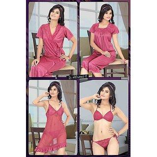 8ed82d94b9 Womens 6pc Bra Panty Top Capri Sheer Babydoll Over Coat Night Dress 2003  Pink