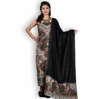 Black Woolen Jamawar Handwoven Suit