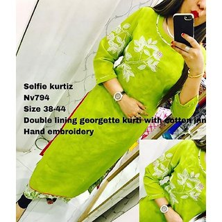 Women's Embroidered semi-stitched Selfie Kurti