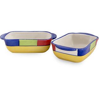 VarEesha Hand Crafted Ceramic Rectangular Serving Dish Set of Two