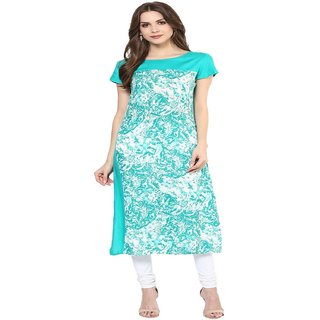 Krapal Turquoise Floral Rayon Straight Kurti