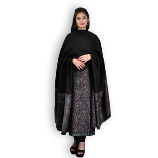 Black Woolen Jamawar Handwoven Suit (Unstitched)