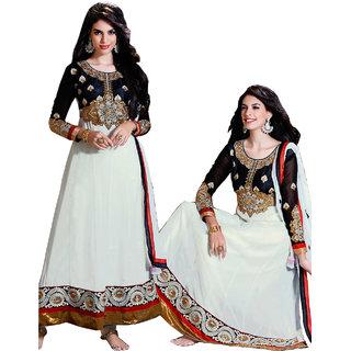 Jeniza Black White Georgette Semi Stitched Party Wear Designer Anarkali Suit (1006)