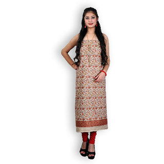 Beige Woollen Suit with Kashmiri Sozni Embroidery (Unstitched)