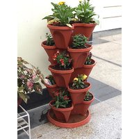Malhotra Plastic Stack A Pot For Floor (Set Of 7) (6 Pots+1 Bottom Tray)
